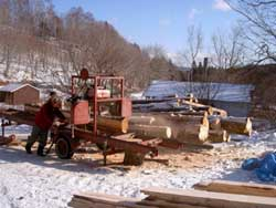 Portable saw mill at Black River